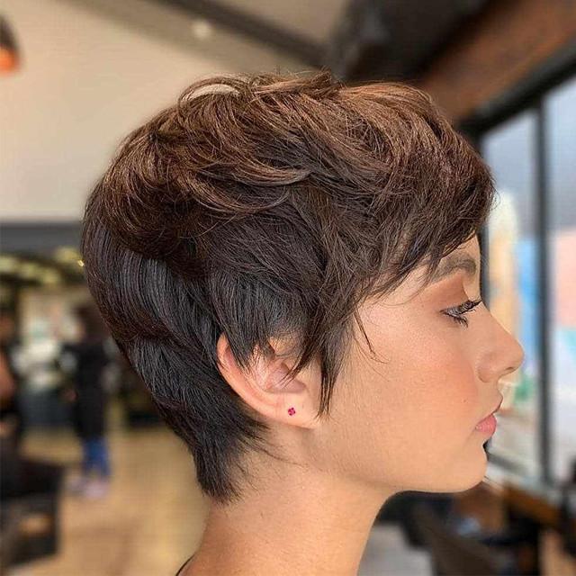 Human Hair Wig Short Straight Natural Straight Bob Pixie Cut Layered Haircut Asymmetrical Brown Life Easy dressing Comfortable Capless Women's All Brown Natural Black 8 inch / Natural Hairline