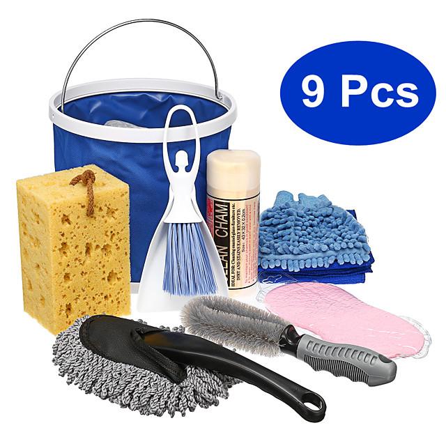 9 Pcs/Set Exterior & Interior Car Home Washing Tools Cleaning Kit Microfiber Glove Towel Brush Bucket