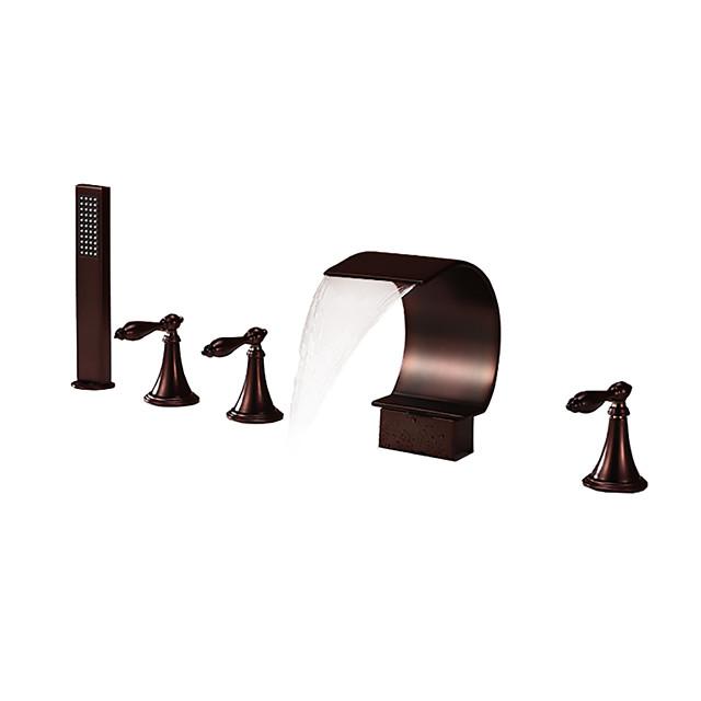 Shower Faucet / Bathtub Faucet - Antique Oil-rubbed Bronze Widespread Brass Valve Bath Shower Mixer Taps