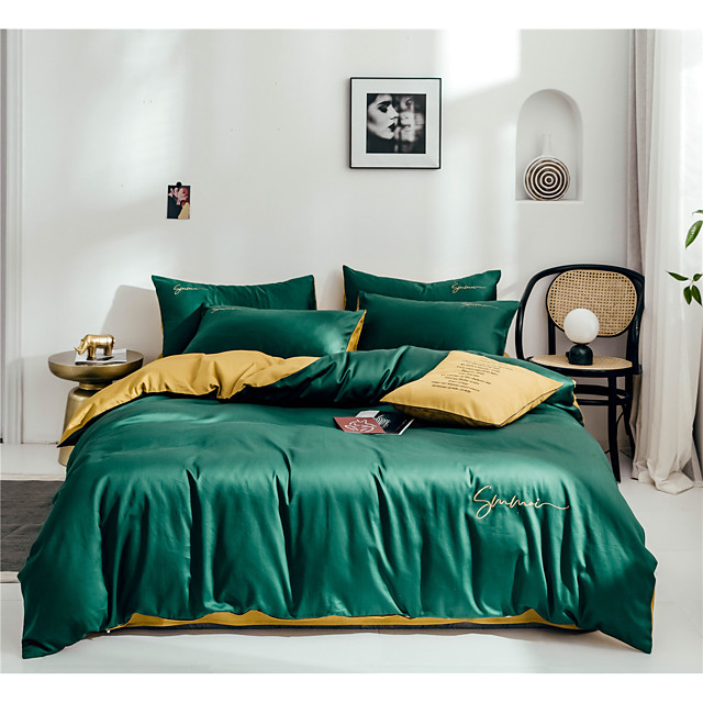 Duvet Cover Sets 4 Piece Cotton Solid Colored Dark Green Embroidery Simple / 300 / 4pcs (1 Duvet Cover, 1 Flat Sheet, 2 Shams)