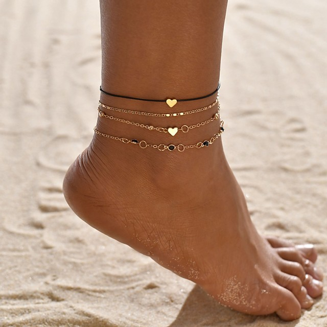 Ankle Bracelet Simple Boho Bohemian Women's Body Jewelry For Gift Daily Geometrical Gold Plated Alloy Heart Star Gold 4pcs