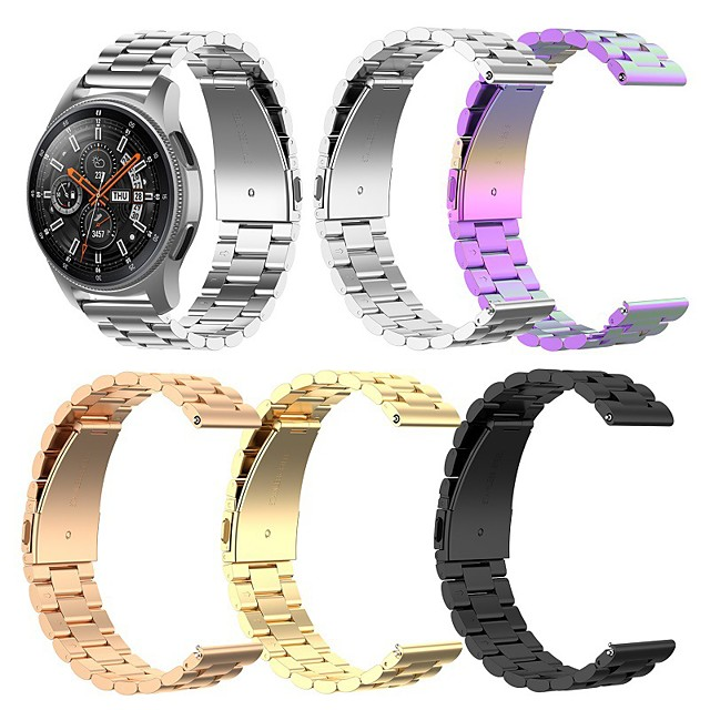 New Sport Style Stainless Steel Band for Samsung Galaxy Watch 46mm / Samsung Gear S3 / Galaxy Watch 3 45mm Samsung Galaxy Strap Width Wristband Metal Three Beads Watch Bands