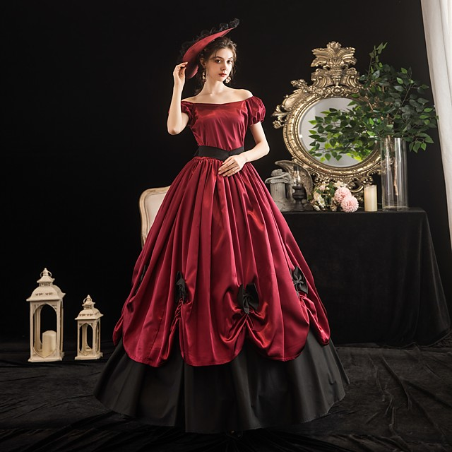 Maria Antonietta Rococo Victorian Summer Dress Party Costume Masquerade Women's Off Shoulder Costume Burgundy Vintage Cosplay Party Masquerade Short Sleeve Floor Length Ball Gown