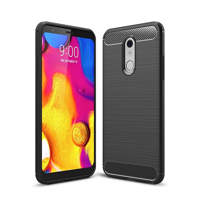 Case For LG V40 / LG Stylo 5 / LG G7 Shockproof / Ultra-thin Back Cover Solid Colored Carbon Fiber Case