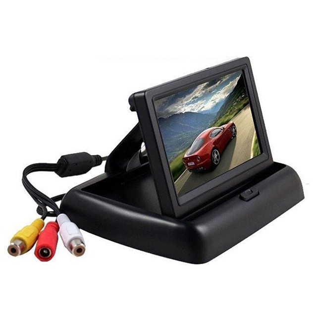 4.3 inch folding LCD rearview monitor for car parking rearview mirror spare display 2 video inputs rearview camera DVD