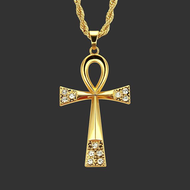Men's Women's Pendant Necklace Chain Necklace Geometrical Cross Unique Design Fashion Zircon Gold Plated Chrome Gold Silver 70 cm Necklace Jewelry 1pc For Street / Long Necklace