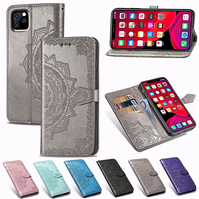 Mandala Embossed Wallet Leather Flip Phone Case For iphone 11 Pro Max XR XS Max X 8 Plus 8 7 Plus 7 6 Plus 6 Card Holder Stand Case Cover