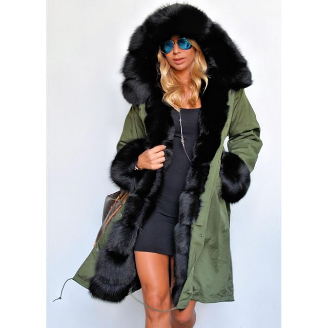 Long Sleeve Coats / Jackets Raccoon Fur / Polyester Wedding Women's Wrap With Cap / Fur