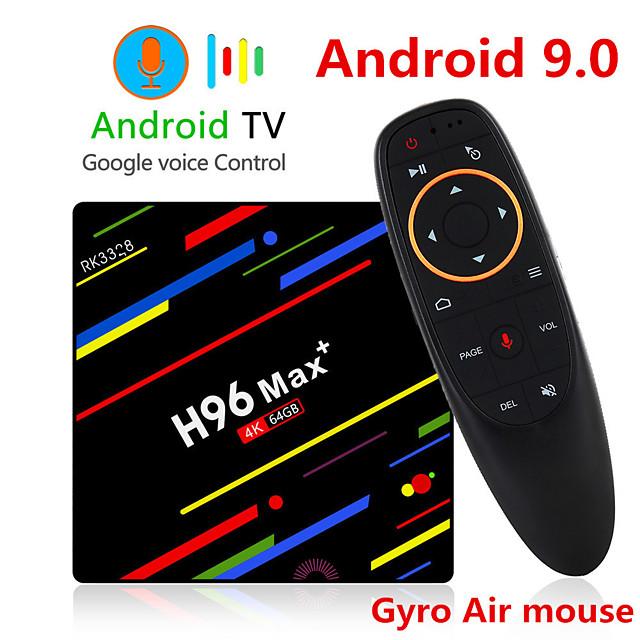 H96 MAX Plus Voice Control Smart TV BOX Android 9.0 RK3328 4K Media Player QuadCore 4GB Ram 64GB ROM Android 8.1 Rockchip Set Top Box 2.4G/5G WIFI H.265 H96Max + TVBOX USB3.0 BT