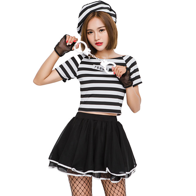 Prisoner Halloween Props Adults Women's Halloween Halloween Festival / Holiday Knitting Black Women's Carnival Costumes / Top / Gloves / Hat / Skirts