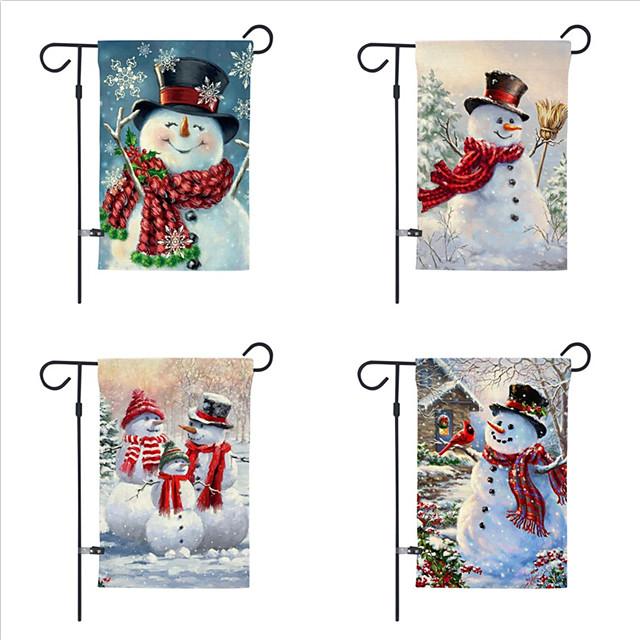 Christmas garden flag 30*45cm double-sided printed snowman linen yard decoration flag