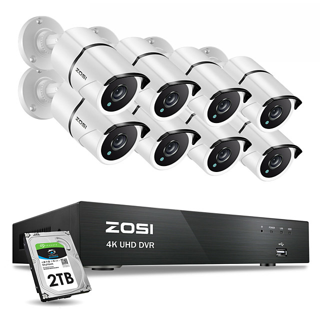 ZOSI 4K 8CH Ultra HD CCTV Camera System H.265 DVR Kit with 2TB HDD 8PCS 8MP TVI Outdoor Home Video Security Surveillance System