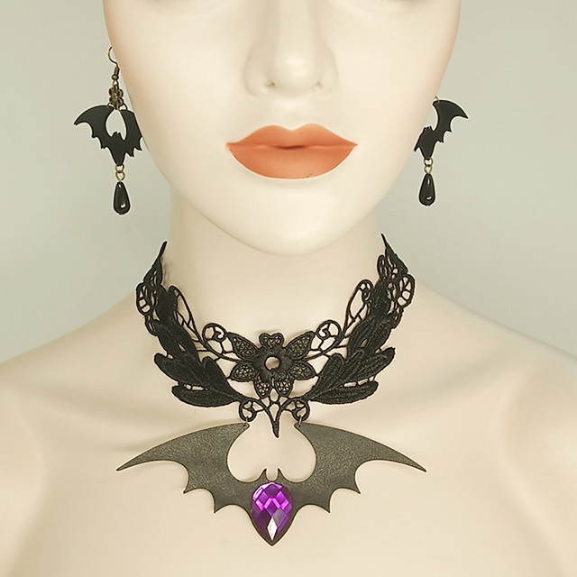 Black Gothic Fashion Necklace And Earring Set