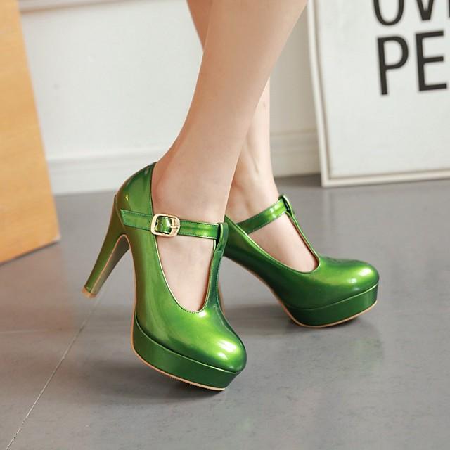 Women's Heels Chunky Heel Round Toe Buckle Patent Leather Preppy / Minimalism Spring &  Fall / Fall & Winter White / Orange / Green