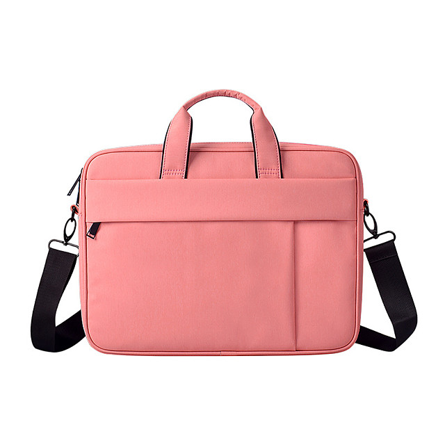 Unisex Waterproof Nylon Laptop Bag Zipper Solid Color Daily Office & Career Black Pink Dark Blue