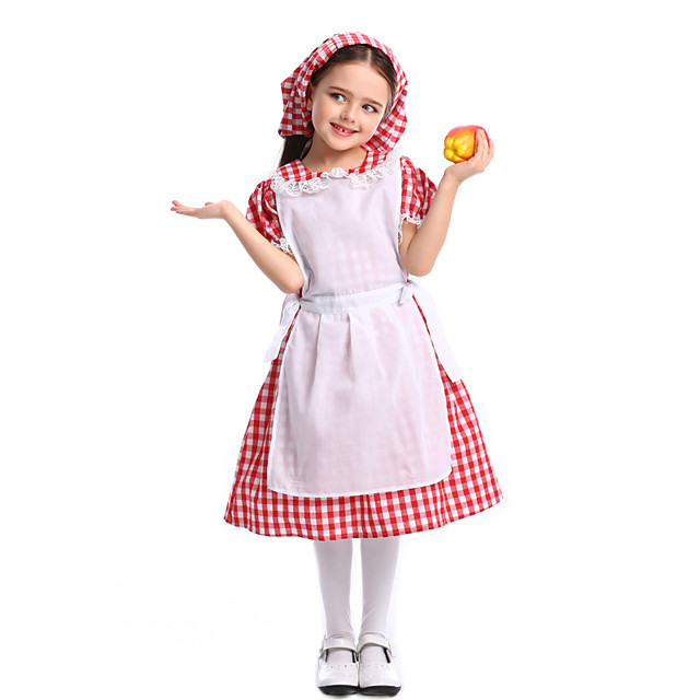 Maid Costume Dress Hat Flower Girl Dress Girls' Movie Cosplay A-Line Slip Red Dress Apron Hat Children's Day Masquerade Cotton / Polyester