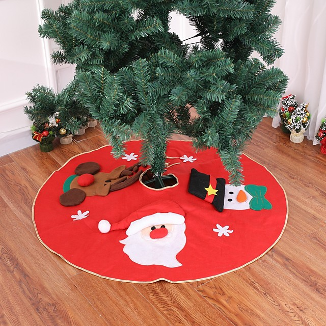 1PCS Christmas Tree Skirt Carpet 90cm  Decoration For Home Aprons New Year Decoration