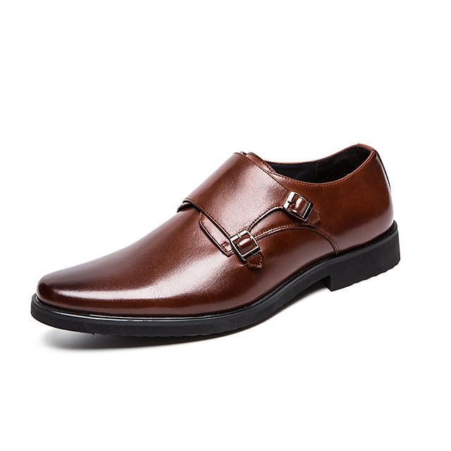Men's Spring / Fall Business / British Wedding Party & Evening Oxfords Walking Shoes Faux Leather Non-slipping Light Brown / Black