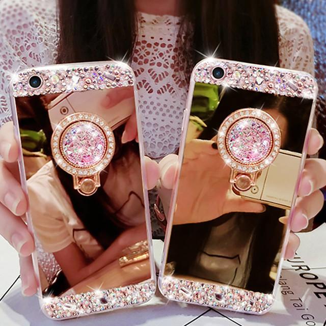 전화 케이스 제품 Apple 뒷면 커버 iPhone 12 Pro Max 11 SE 2020 X XR XS Max 8 7 6 크리스탈 링 홀더 거울 한 색상 아크릴