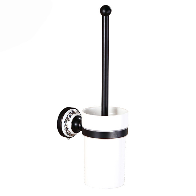 Toilet Brush Holder Set Creative Antique Brass and Ceramic Bathroom Toilet Brush Wall Mounted 1Set