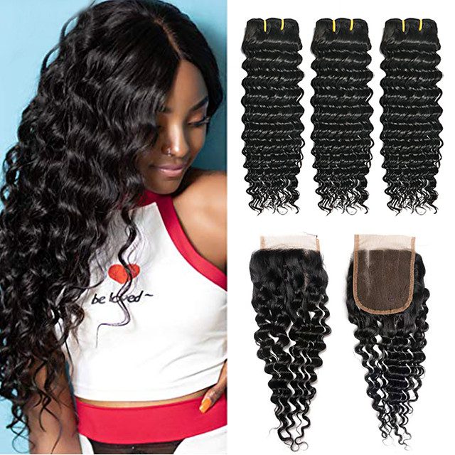3 Bundles with Closure Hair Weaves Peruvian Hair Deep Wave Human Hair Extensions Remy Human Hair 100% Remy Hair Weave Bundles 345 g Natural Color Hair Weaves / Hair Bulk Human Hair Extensions 8-24