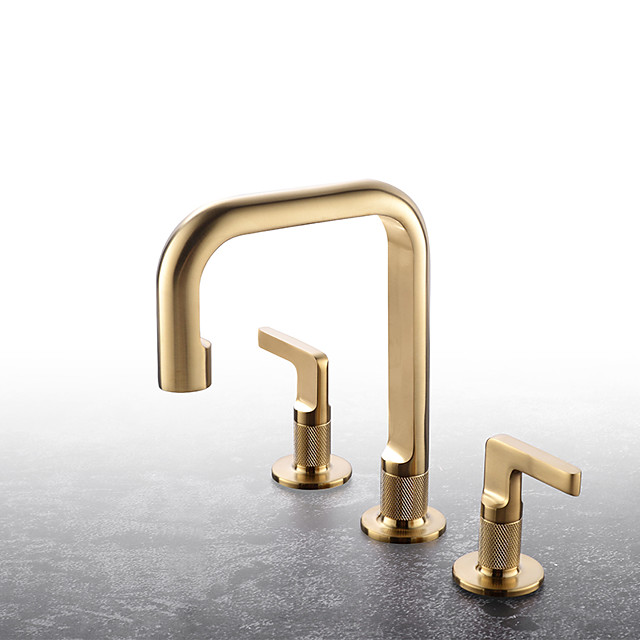 Unique Design High Quality Bathroom Plumbing Fittings Brushed Gold Dual Handle 3 hole Countertop installation Widespread Hot Cold Washroom Basin Sink Faucet MixerTap