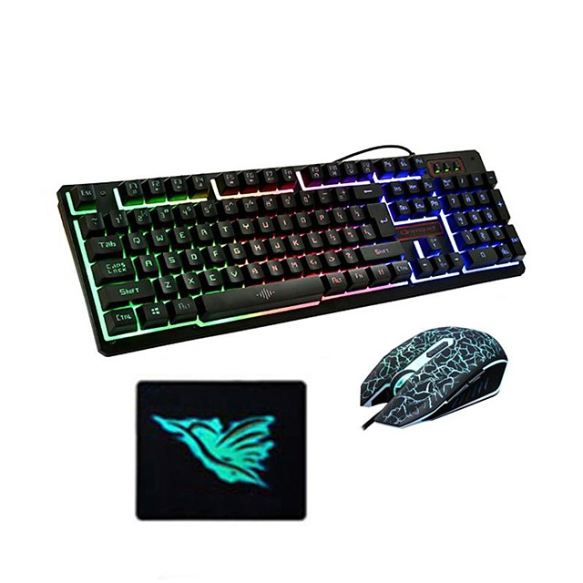 USB Wired Optical Keyboard Mouse and Pad Gamers 3 Pieces a Kit Illuminous Keys for Desktop Laptop