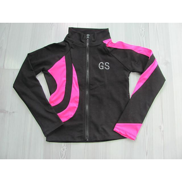 UniqGarb Figure Skating Warm Fleece Semi Fitted Jackets Ice Skating Jacket for Girls Women Black Skate Jacket