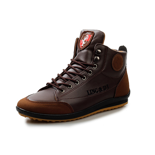 Men's Comfort Shoes PU Spring / Fall & Winter Vintage / British Sneakers Walking Shoes Non-slipping Brown / Dark Brown / Blue / Light Soles