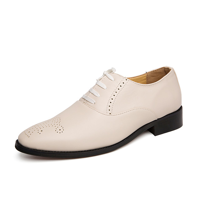 Men's Summer / Fall Classic / Casual Daily Office & Career Oxfords Faux Leather Non-slipping Wear Proof White / Black