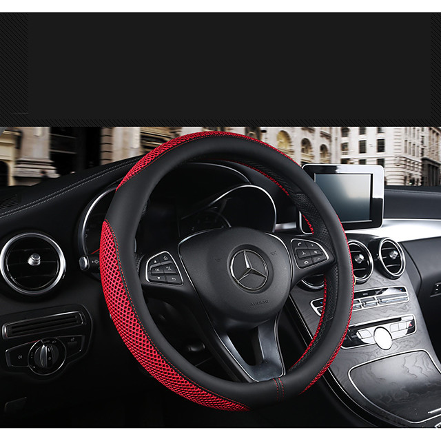 Breathable and wear-resistant leather steering wheel cover four seasons universal leather car handles hand-sewed square plate