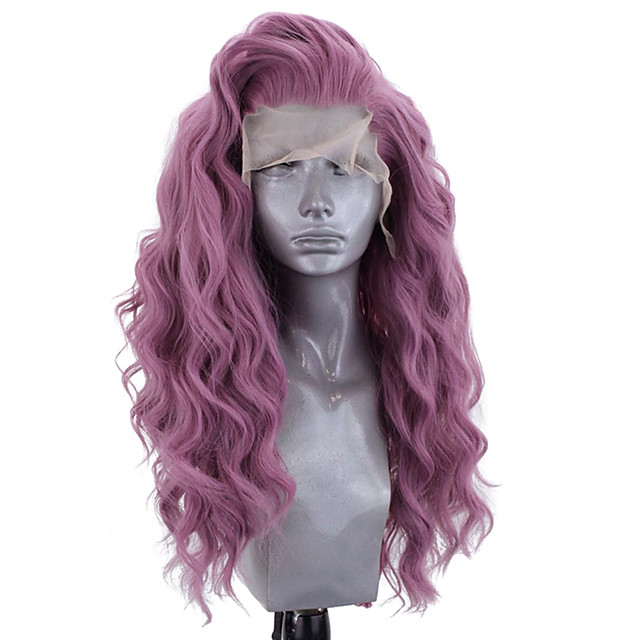 Synthetic Lace Front Wig Wavy Side Part Lace Front Wig Long Bleach Blonde#613 Green Black / Grey Purple Dark Purple Synthetic Hair 18-26 inch Women's Adjustable Heat Resistant Party Purple