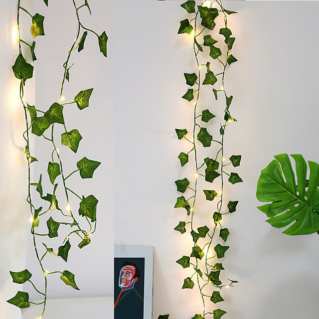 2M 20LED Ivy Garland String Light for Christmas Tree Wedding Living Room Bedroom Decoration Cane Creeper Leaf Battery Powered Fairy Lights without Battery