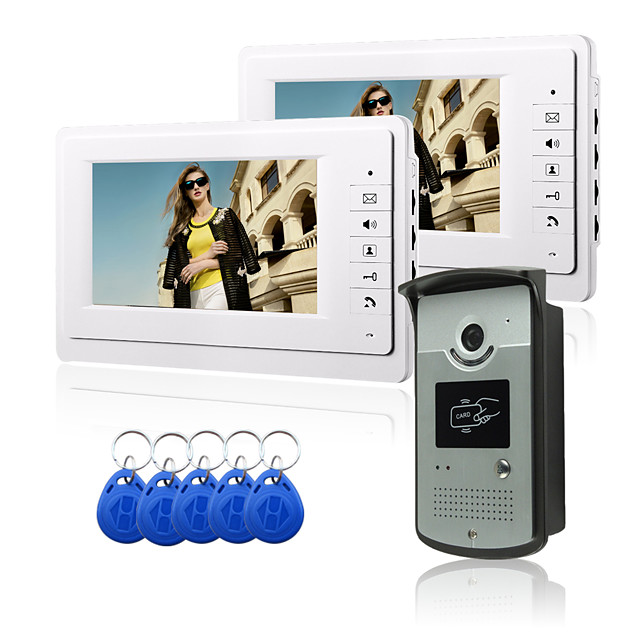 Wired 7 Inch Hands-free 800*480 Pixel One To One Video Doorphone Intercom System Kit Electric Strike Lock Wireless Remote Control Unlock Remote Control For Access Control System