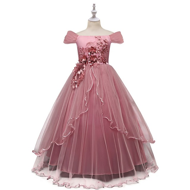 Kids Little Girls' Dress Floral Flower Tulle Dress Formal Wedding Party Birthday Party Beads Bow Red Blushing Pink Navy Blue Elegant Gowns Dresses