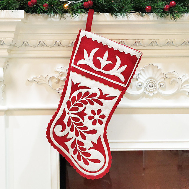 Christmas Socks Christmas Gifts Non-woven Embroidery Large Christmas Socks Gift Bag Decoration