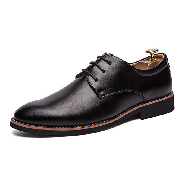 Men's Oxfords Leather Shoes Business Party & Evening Office & Career PU White / Black / Yellow Fall