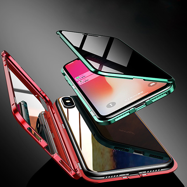 Magnetic Double Sided Case For Apple iPhone XS / iPhone XR / iPhone XS Max/7 8PLUS/7 8/6SPLUS/6S/6 Transparent / Magnetic Full Body Cases Solid Colored Tempered Anti Peeping Glass