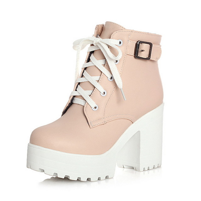 Women's Boots Chunky Heel Round Toe PU Booties / Ankle Boots Fall & Winter Black / White / Pink