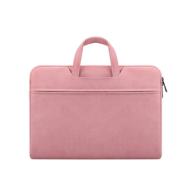 Unisex PU Laptop Bag Zipper Solid Color Daily Office & Career Dark Grey Pink Light Grey
