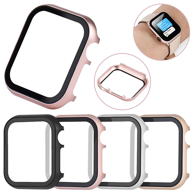 All-inclusive Tempered Glass Film Protective Case For Apple Watch 40mm/44mm/38mm/42mm Metal Shell Frame For Apple Watch Series 5/4/3/2/1