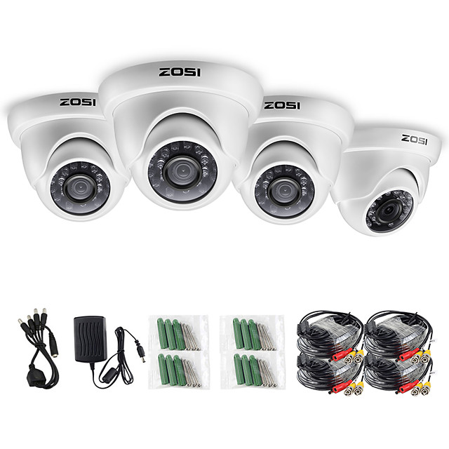 ZOSI 4pcs/lot 1080P HD-TVI 2.0MP CCTV Dome Camera Home Security System Waterproof for 1080P HD-TVI DVR Systems