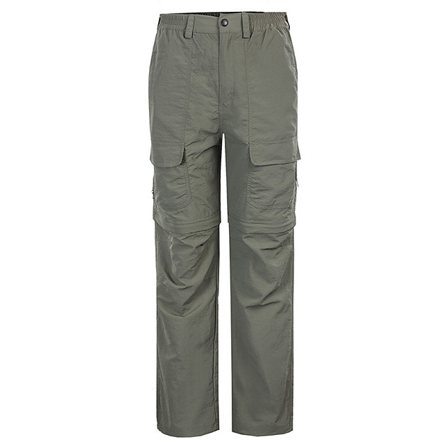 Men's Hiking Pants Convertible Pants / Zip Off Pants Solid Color Summer Outdoor Windproof Breathable Quick Dry Wearproof Pants / Trousers Bottoms Hunter Green Grey Khaki Fishing Hiking Climbing S M L
