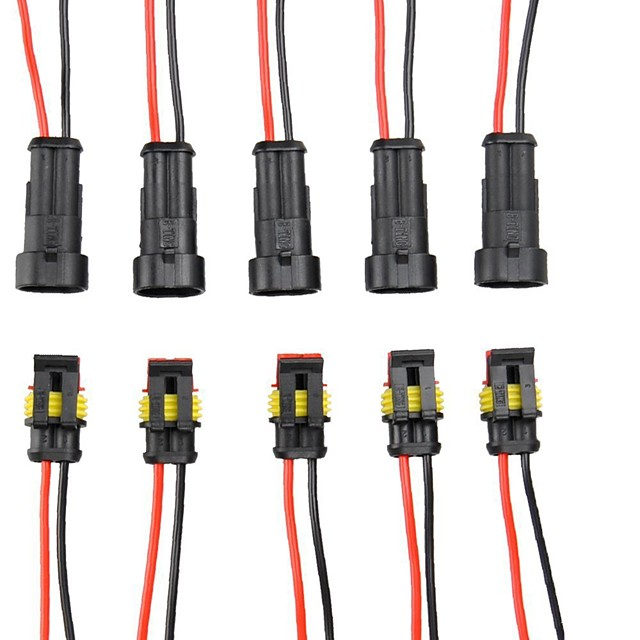 E-TING 5 Kit 2 Pin Way Car Waterproof Electrical Connector Plug with Wire AWG Marine