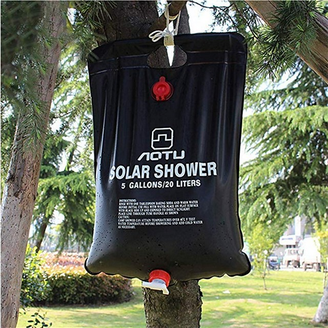 solar camping shower bag,Portable Solar Shower Camping Bag 5 Gallon Ultralight PVC Black Bag for Summer Camping Outdoor Hiking Travel