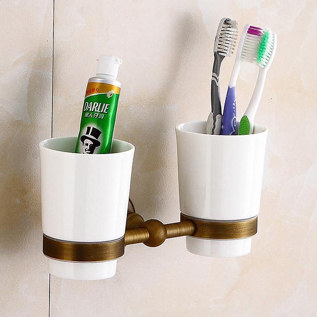 suport periuță de dinți creativ din alamă antică și material ceramic baie montat pe perete cu 2 căni 1 buc