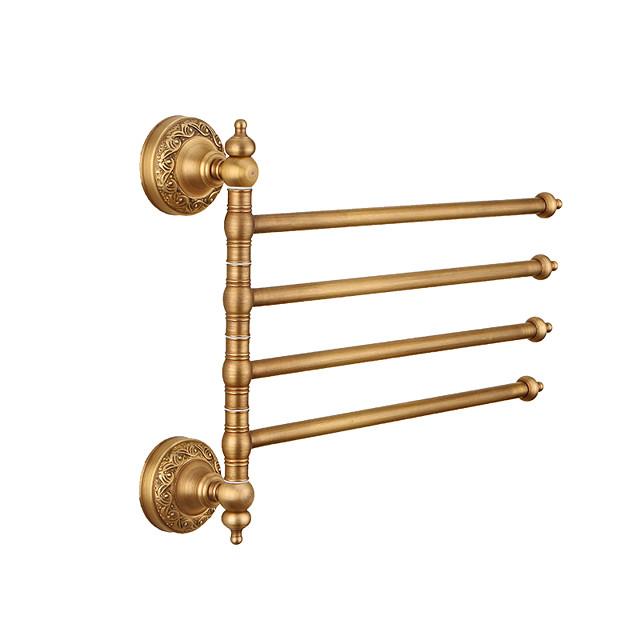 raft pentru prosoape multifuncțional raft de baie din alamă galvanizată cu 4 tije montat pe perete 1 buc