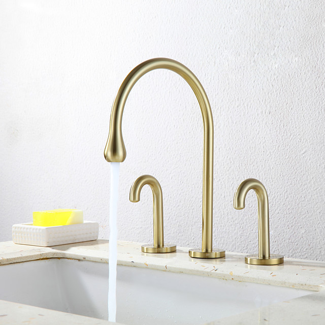Bathroom Sink Faucet - Standard / filter / Widespread Chrome / Oil-rubbed Bronze / Electroplated Widespread Two Handles Three HolesBath Taps / CUPC / UPC