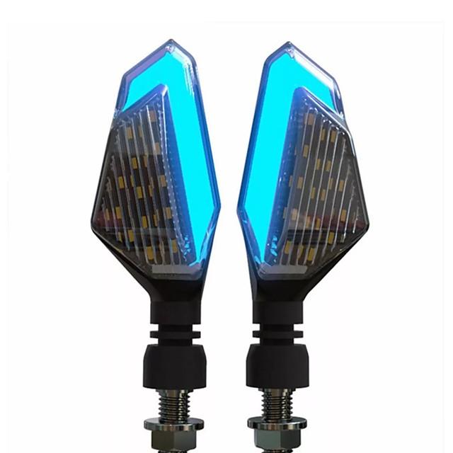 2pcs 12V Motorcycle LED Turn Signal Lights Running Daytime Light Brightness DRL - White