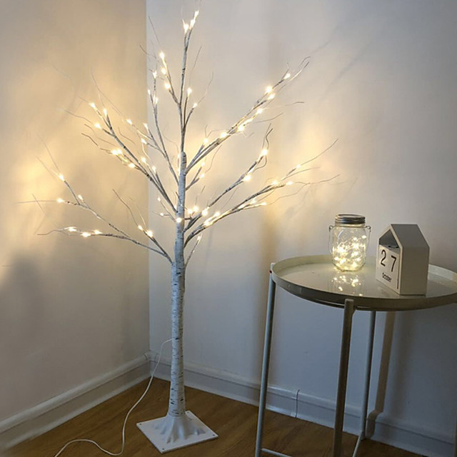 LED Silver Birch Tree Lamp Christmas Festival Modern Decoration Indoor Warm White Holiday Fairy Light Garland